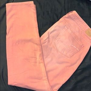 AEO Pink Faded Wash Skinny Jeans